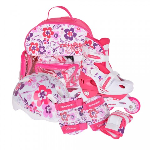 Детские раздвижные роликовые коньки Tempish Flower Baby skate (комплект)